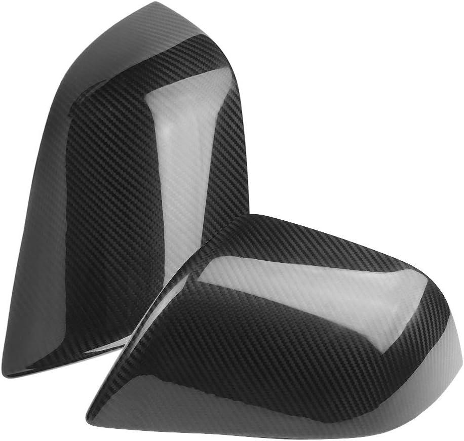 Keenso 2pcs Car Carbon Fiber Rear View Mirror Cover Trim Fit for model3 2017-2019