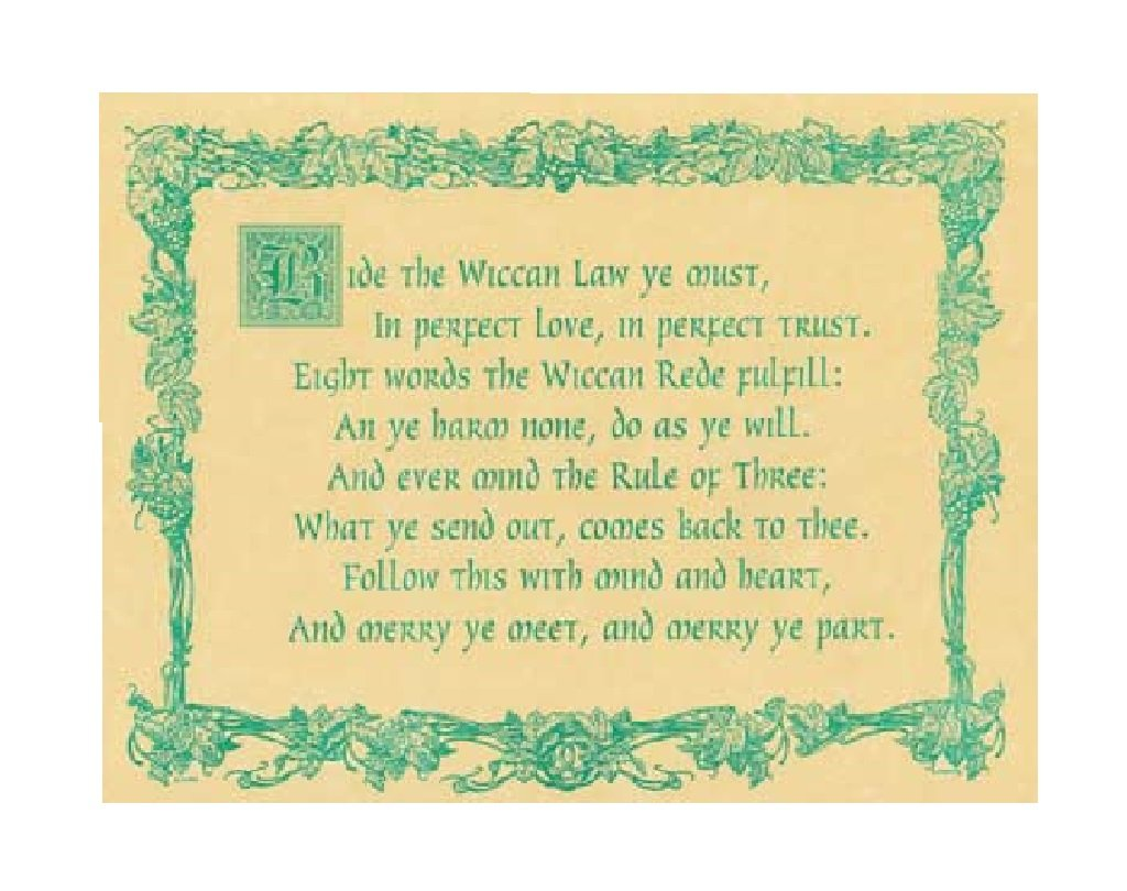 Amazon.com: Wiccan Rede Poster: Parchment Paper: Posters & Prints