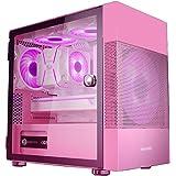WSNBB Rosa spelfodral, medel-Tower M-ATX/ITX PC speldatorväska, sidopanel med härdat glas, USB 3,0, för stationär PC…