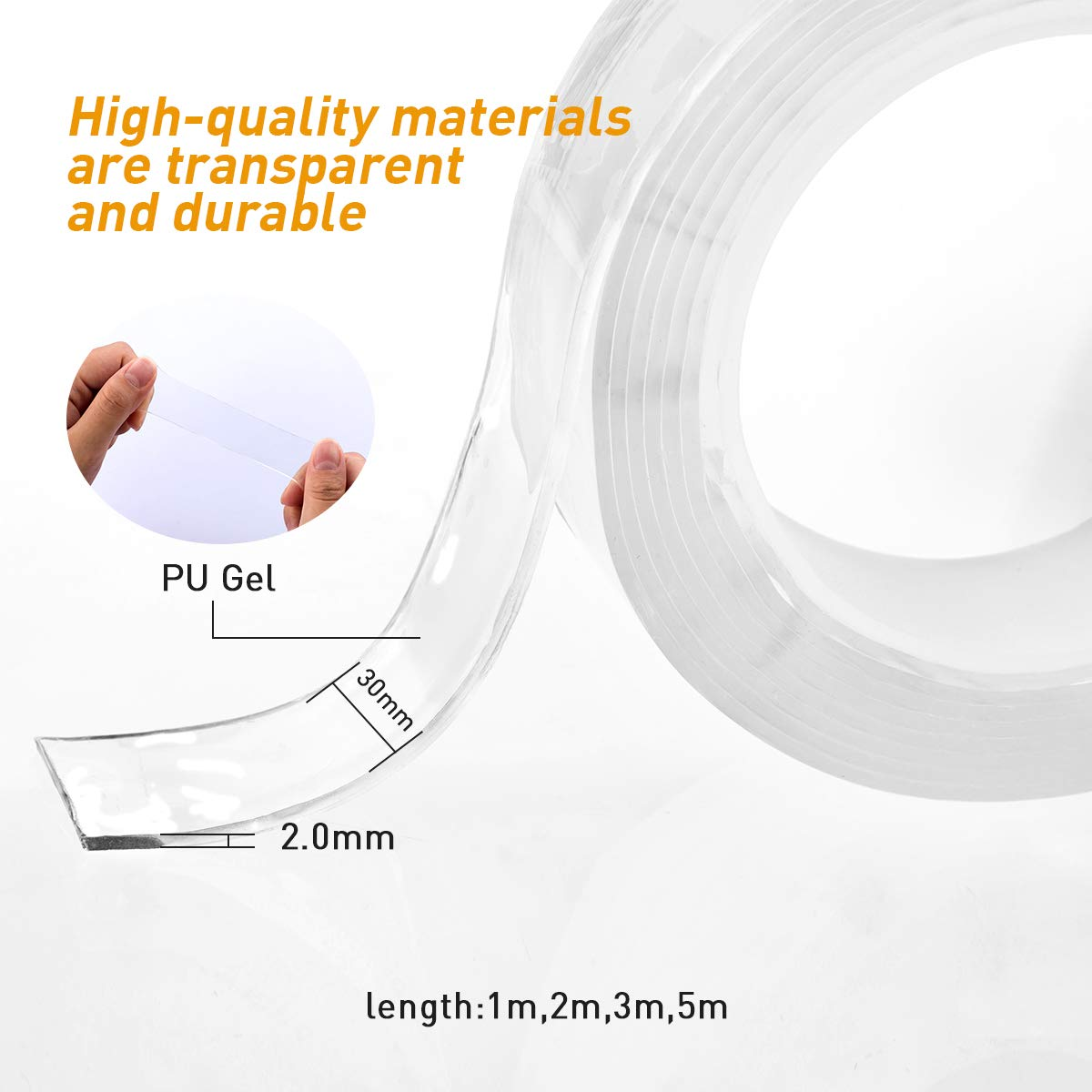Traceless Washable Gel Pads Magic Nano Tape APTGAGA Reusable Removable Adhesive Tape Double Sided Anti-Slip Sticky Seamless Strips Grip Kitchen Holder Multipurpose 10 Ft 3M