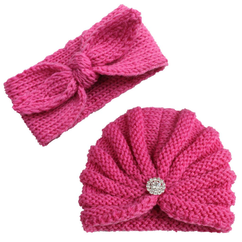 2Pcs Baby Boy Girl Beanie Cap Bowknot Headband Iuhan Newborn Infant Toddler Knitted Turban Hat Hair Band Beanie Headwear Cap Sets for 0-2year Baby