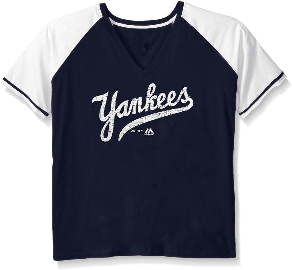 New York Yankees MLB Majestic para mujer envejecido corte cuello camisa azul marino azul plus tamaños, Unisex mujer, azul marino: Amazon.es: Deportes y aire libre