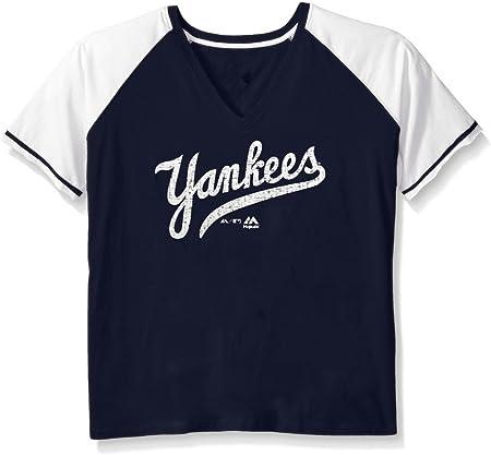 New York Yankees MLB Majestic para mujer envejecido corte ...