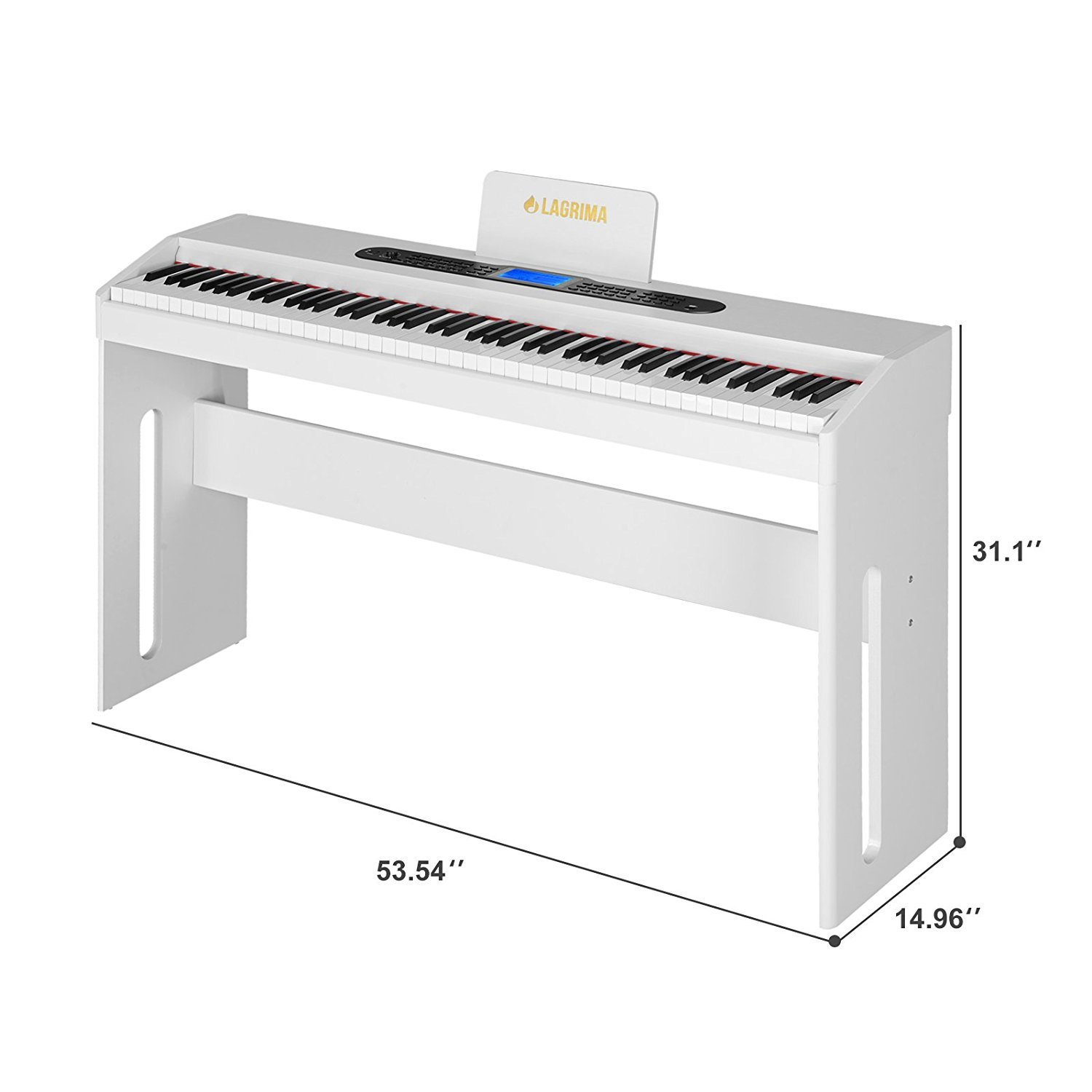 LAGRIMA White Digital Piano, 88 Keys Electric Piano Keyboard for Beginner/Adults W/Music Stand+Dust Cover+Power Adapter+1-Pedal Board+Instruction Book+Headphone Jack by LAGRIMA (Image #7)