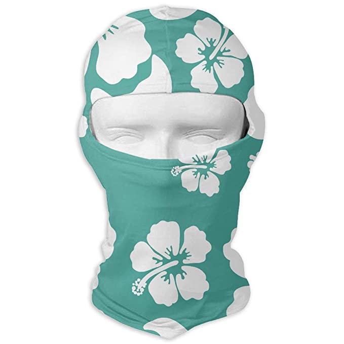 2de22353 Hawaiian Hibiscus Flower Women Men Balaclava Windproof Ski Face Mask Bike  Motorcycle Sports Cap White