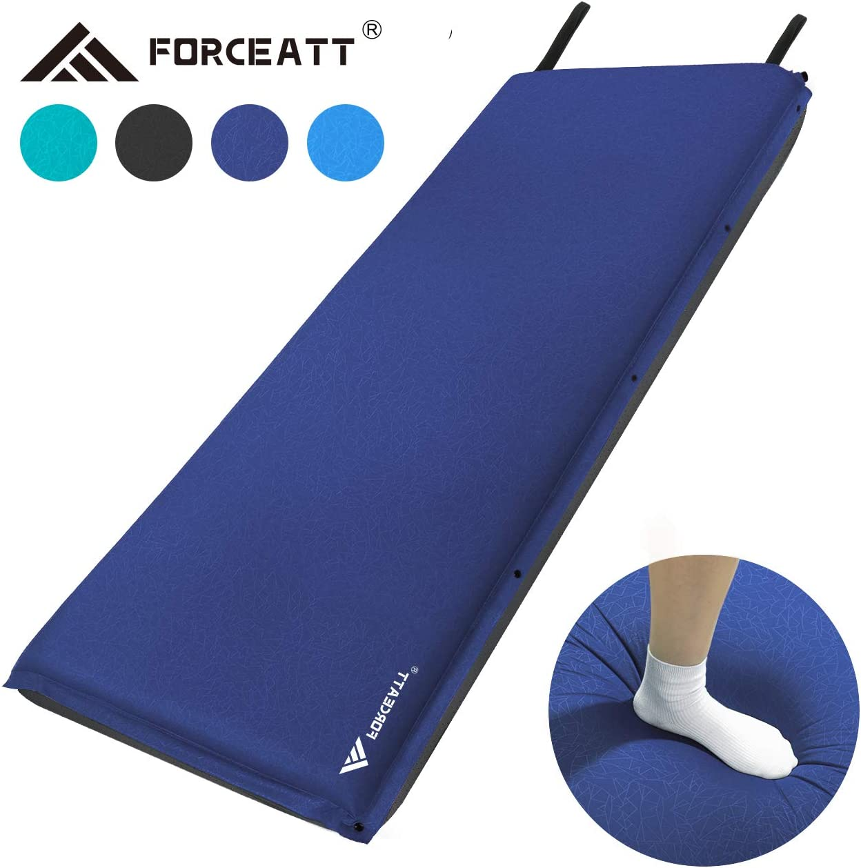 Forceatt Camping Sleeping Pad, 2 and 3.2 Inches- Thick Self Inflating Lightweight Camping Pad and Non-Slip Particles on The Back Ideal for Backpacking and Camping