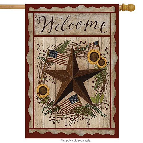 - Autumn Welcome Barnstar Primitive House Flag Berries 28