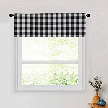 Black White Checked Buffalo Country Retro Diner Farmhouse Farm Kitchen Fabric Decor Window Treatment Curtain Valance Curtains Blinds Shutters Surclima Handmade Products