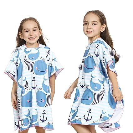 Zhangcaiyun Toalla con Capucha para niños Niños Rayas Azules Que cambian Toalla de baño Poncho con