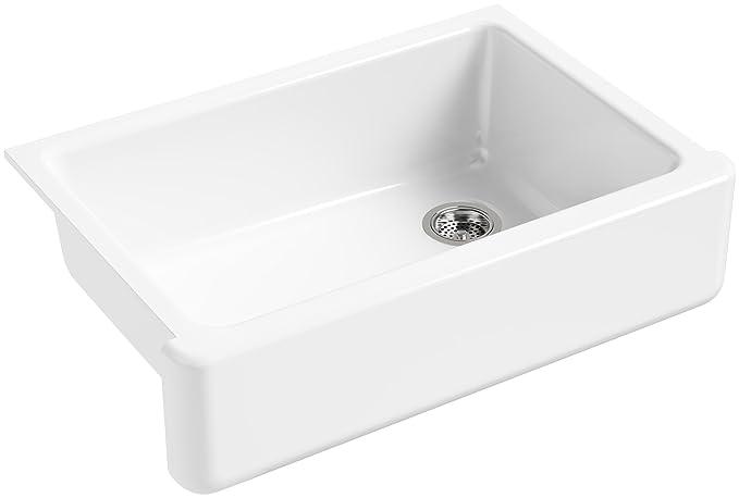 Kohler K 5827 0 Whitehaven Self Trimming Under Mount Single Bowl Sink With Tall Apron, White by Kohler