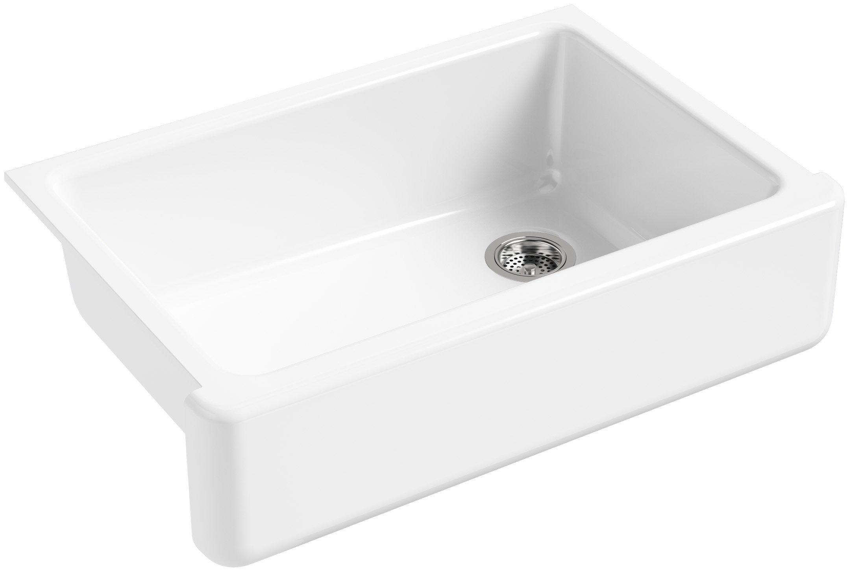 KOHLER K-5827-0 Whitehaven Self-Trimming Under-Mount Single-Bowl Sink with Tall Apron, White