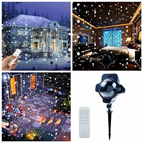 Snowfall Outdoor Led Christmas Lights Displays Projector Show Waterproof Rotating Projection Snowflake Lamp with Wireless Remote for Xmas Halloween Party Wedding and Garden -