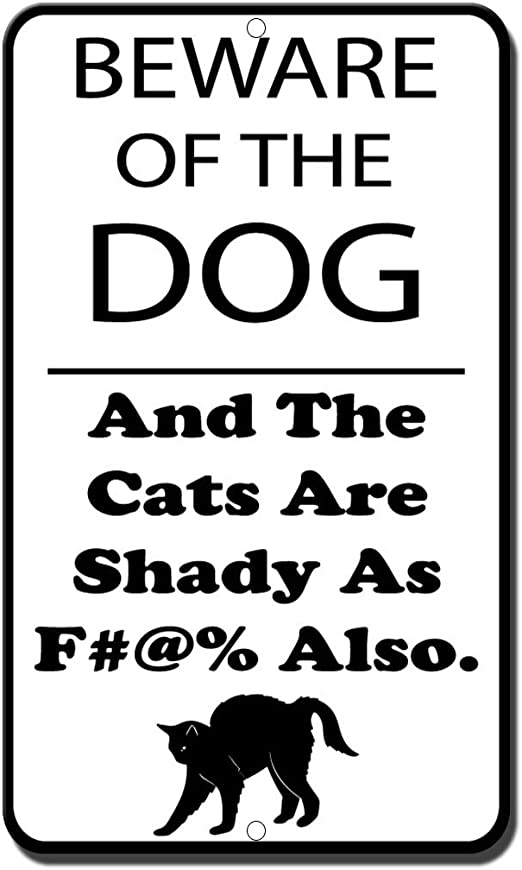 Beware of the dog and cat Vintage Metal Wall Sign