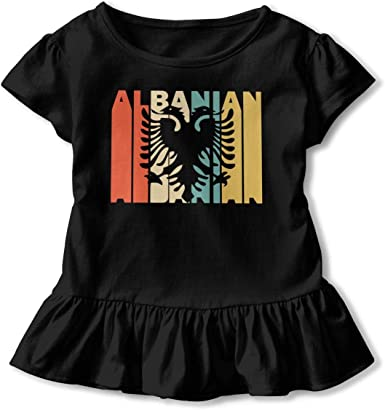 2-6T Short-Sleeve Retro Style Albanian Silhouette Shirts for Children Fashion Tunic Tops with Falbala