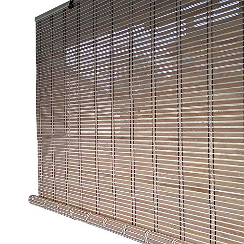 Bamboo Roller Venetian Blinds with Wooden Side Pull, 65% Sun Shade Curtain for Window/Partition, Wide 80/100/120/140cm (Color : Hook, Size : 80x150cm) (Wooden Patio Door Blinds Venetian)