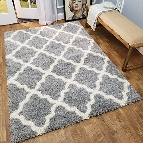 Shag Area Rug 3x5 | New Moroccan Trellis Gray Grey Shag Rugs for Living Room Bedroom Nursery Kids College Dorm Carpet by European Made MH10 Maxy Home