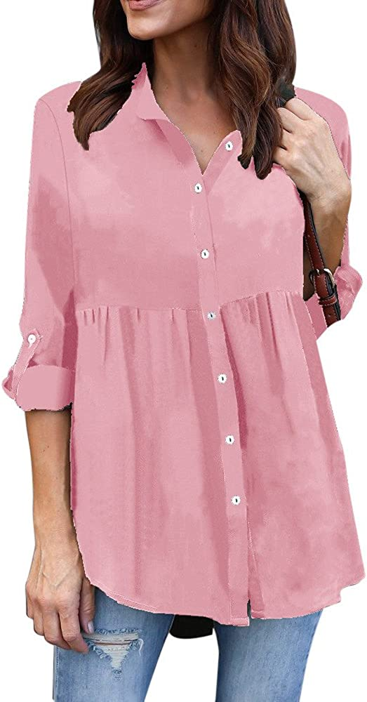 HGWXX7 T-Shirt Women Solid Plus Size Button Long Sleeve Chiffon Work Tops Blouse