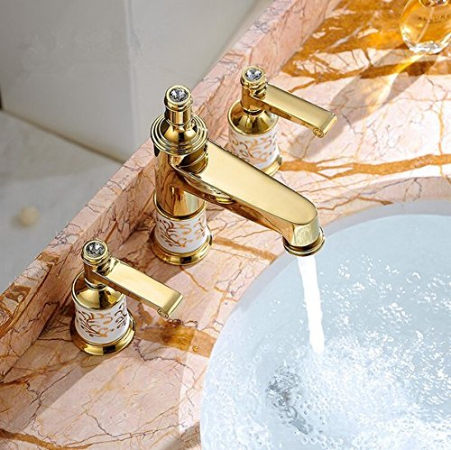 GOWE Bathroom faucet 3 holes double handle Rose Golden basin sink water taps solid brass in the bathroom products color:yellow 0