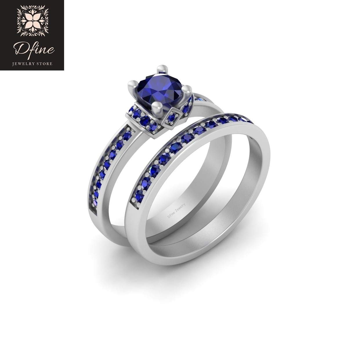 It is an image of Star Wars Engagement Ring Set Blue Sapphire Wedding Rings 40 Sterling Silver R40D40 Ring
