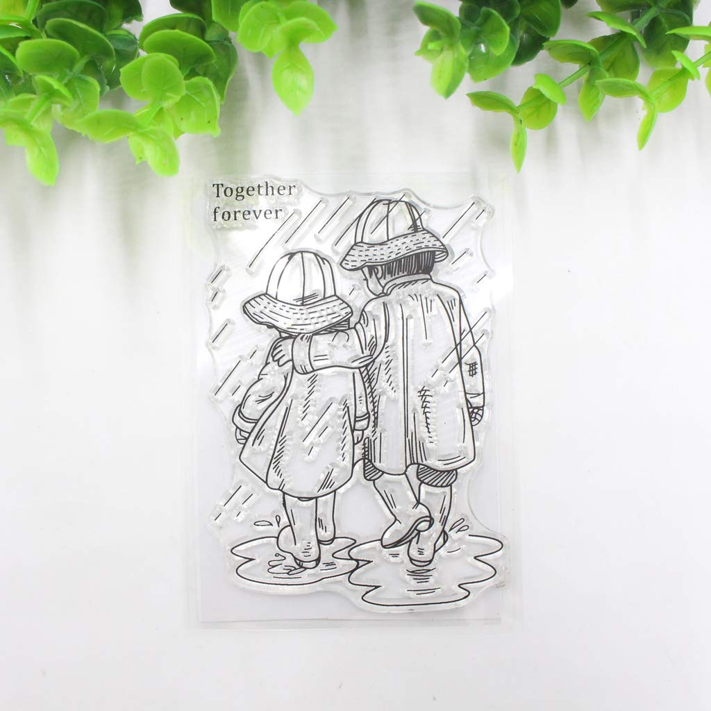 Hukai Transparent Silicone Clear Couple in The Rain Stamp for Scrapbooking DIY Photo Album Decor,Perfect for DIY Greeting Card Notebook Invitation Card