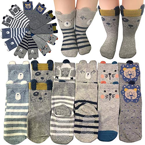 6-Pairs-Cartoon-Toddler-Socks-Boys-Girls-Anti-Slip-Ankle-Socks-Baby-Walkers-Non-Skip-Cute-Animal-Cotton-Cozy-Socks-with-Grip-for-12-36-Months