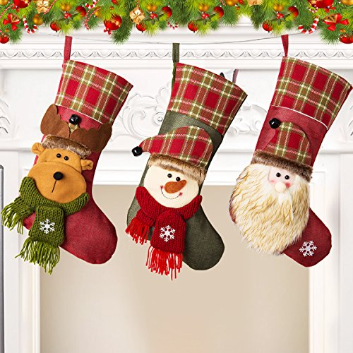 NONZERS Lovely Christmas Stockings-Classic Christmas Stockings,3 Pcs of Xmas Gift Candy Bag,Santa Snowman Reindeer Toys Stockings,3D Applique Style Christmas Stockings Decoration for Kids (17.7Lx7.5W) by NONZERS (Image #6)