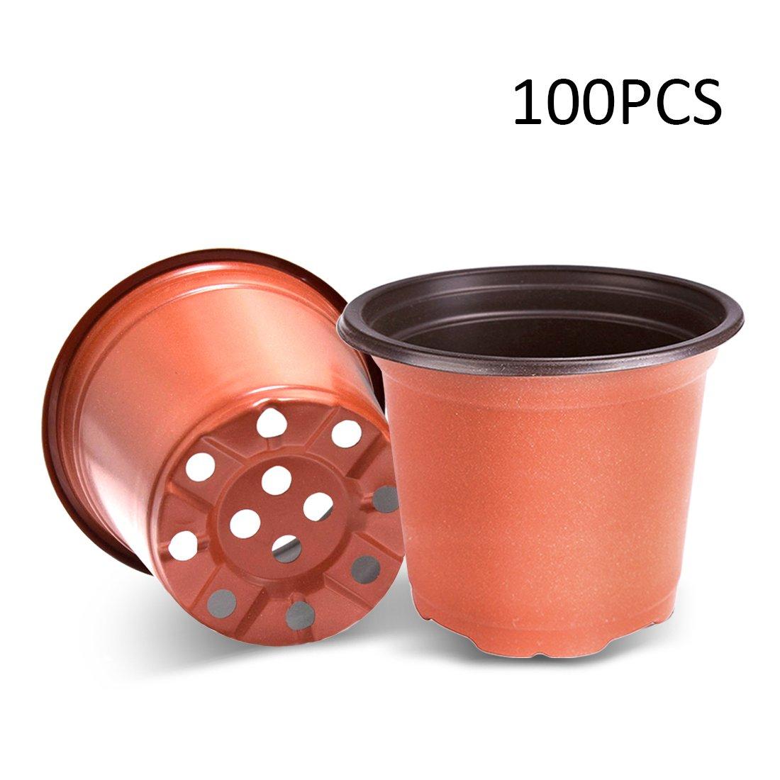 VIVOSUN 100-PACK 6'' Plastic Plants Flower Seedling Nursery Pot - Lightweight, Washable, Reusable
