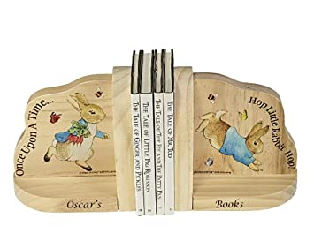Personalised Peter Rabbit Beatrix Potter Wooden Bookends Baby Gift