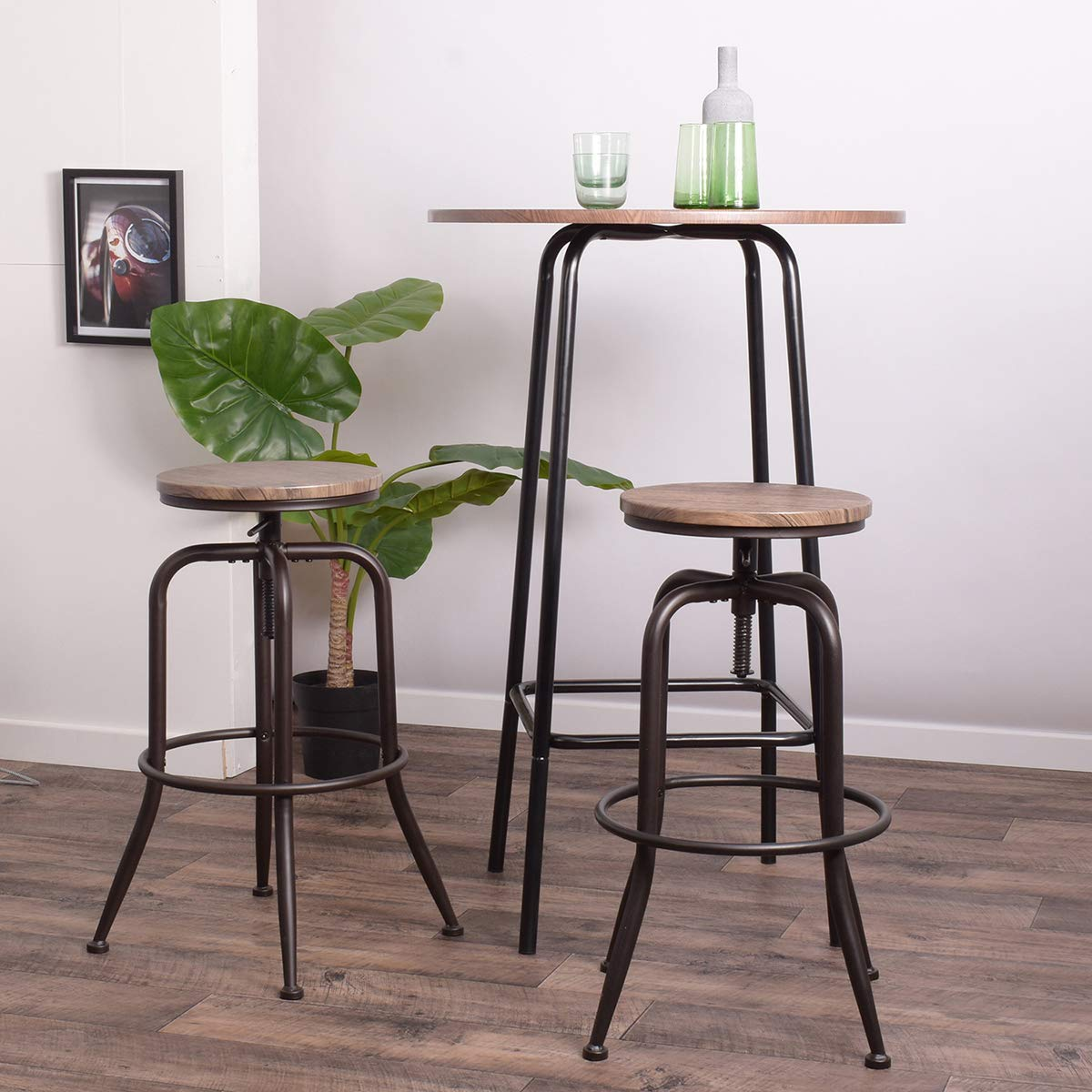 Aingoo Barhocker 2er Set Barstühle mit Fußablage