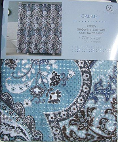 Calais dobby silver teal aqua blue gray brown paisley for Blue and silver bathroom sets