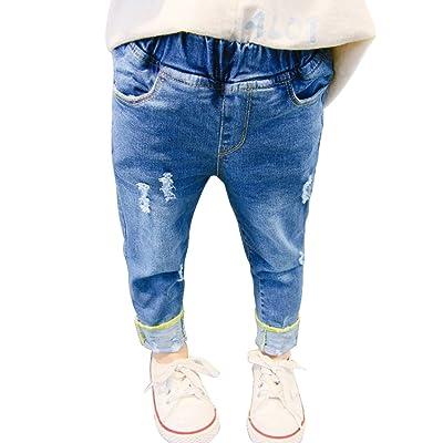 74a1f3566 PAUBOLI Ripped Jeans Baby Girl Infant Toddler Denim Pants Elastic ...