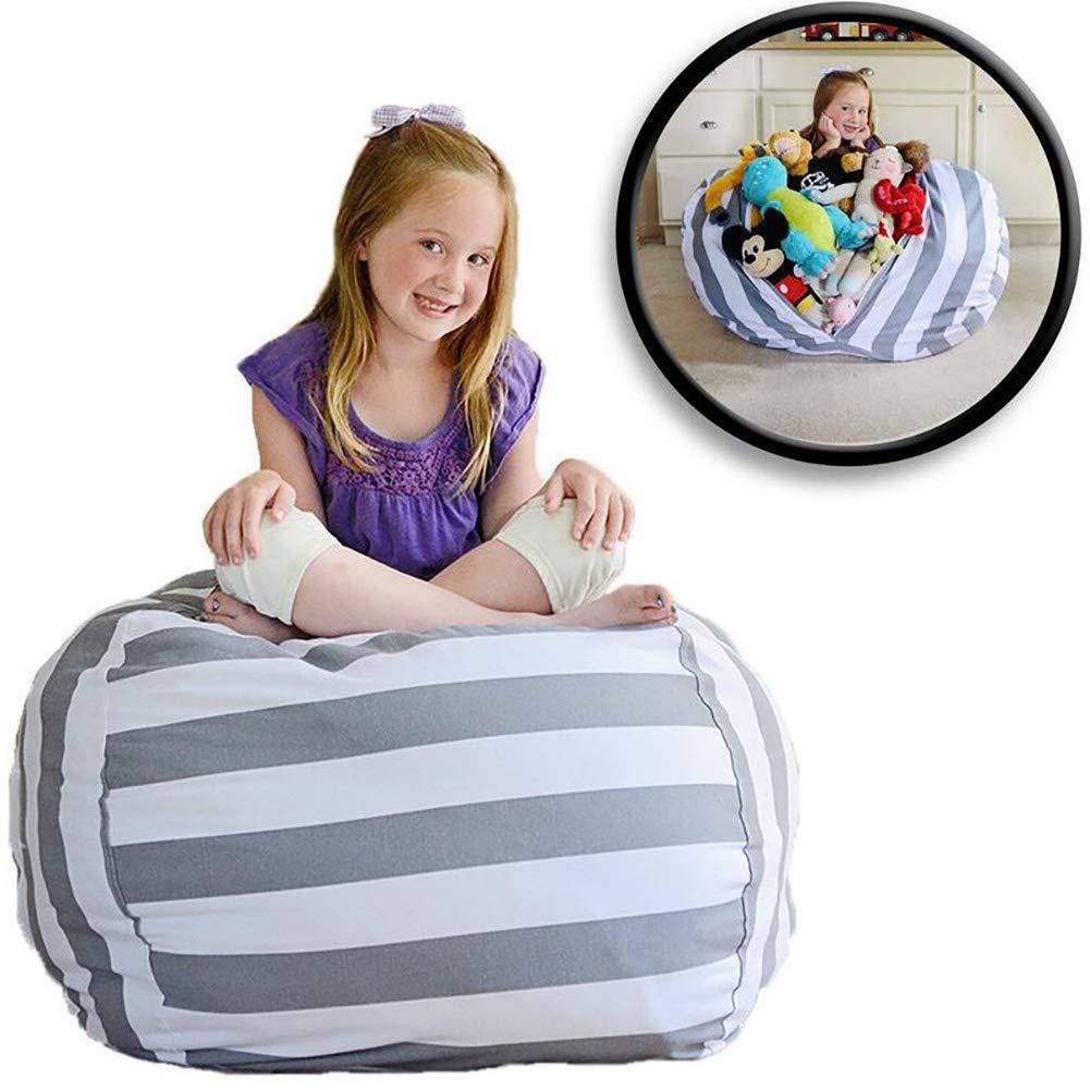 HSTV Stuffed Animal Storage Bean Bag Chair | Extra Long Zipper Stuffed Storage Bag | Kids Bean Bag | Stuffed Animal Storage Bag | Rayas Grises Y Blancas - Available In 4 Sizes,16