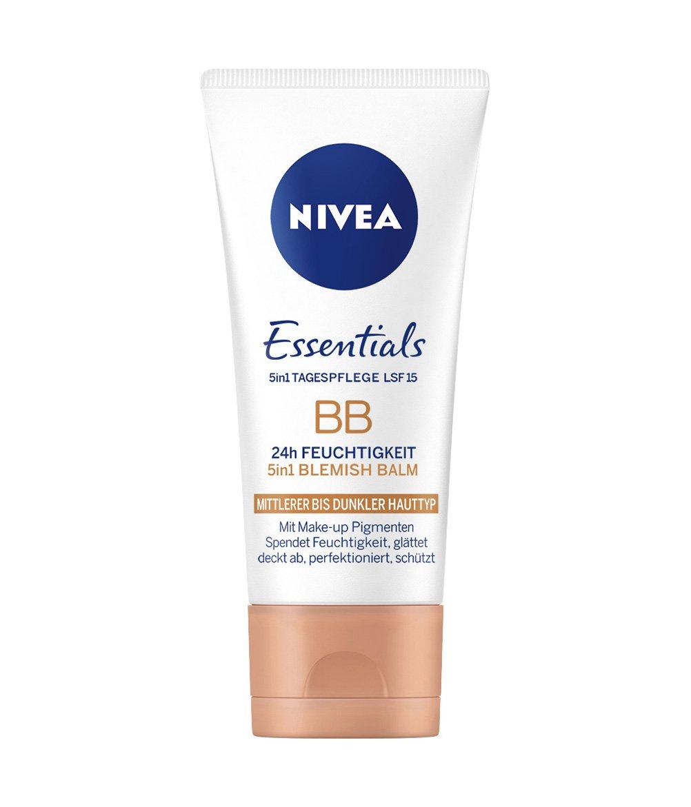 NIVEA Getönte Tagespflege für mittlere bis dunklere Hauttypen, 5-in-1 BB Cream, 50 ml Tube