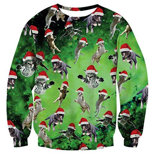 Uideazone Print Christmas Cats Shirt Sweater Men Women Funny Ugly Xmas Party Sweatshirts Green