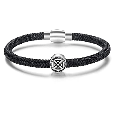 f11c20c9163b4 Mens Bracelet 925 Sterling Silver with Stainless Steel Wire Rope Bracelet  for men Braided Rope Energy Charm Collection Push Button Locking Clasp