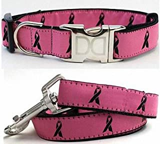 "product image for Diva-Dog 'Breast Cancer Awareness' Custom Small Dog 5/8"" Wide Pink Dog Collar with Plain or Engraved Buckle, Matching Leash Available - Teacup, XS/S"