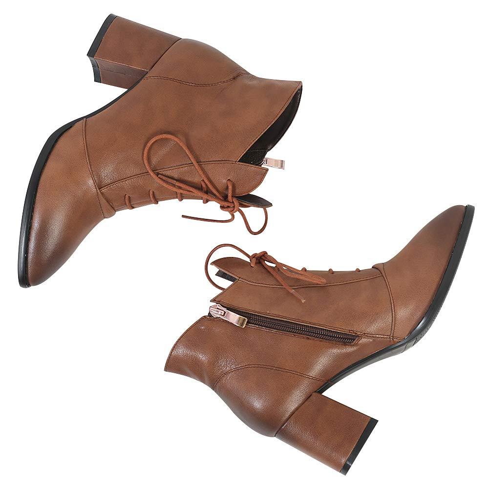 Jamron Damen Gehoben Echtleder Echtleder Echtleder Mittlere Blockabsatz Spitze Stiefeletten Uralt Reißverschluss Stiefel ede5b0