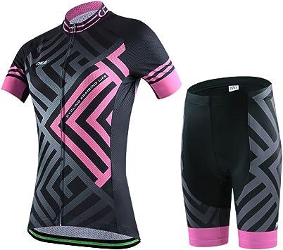 SKYSPER Ciclismo Maillot Mujeres Jersey + Pantalones Cortos Culote ...