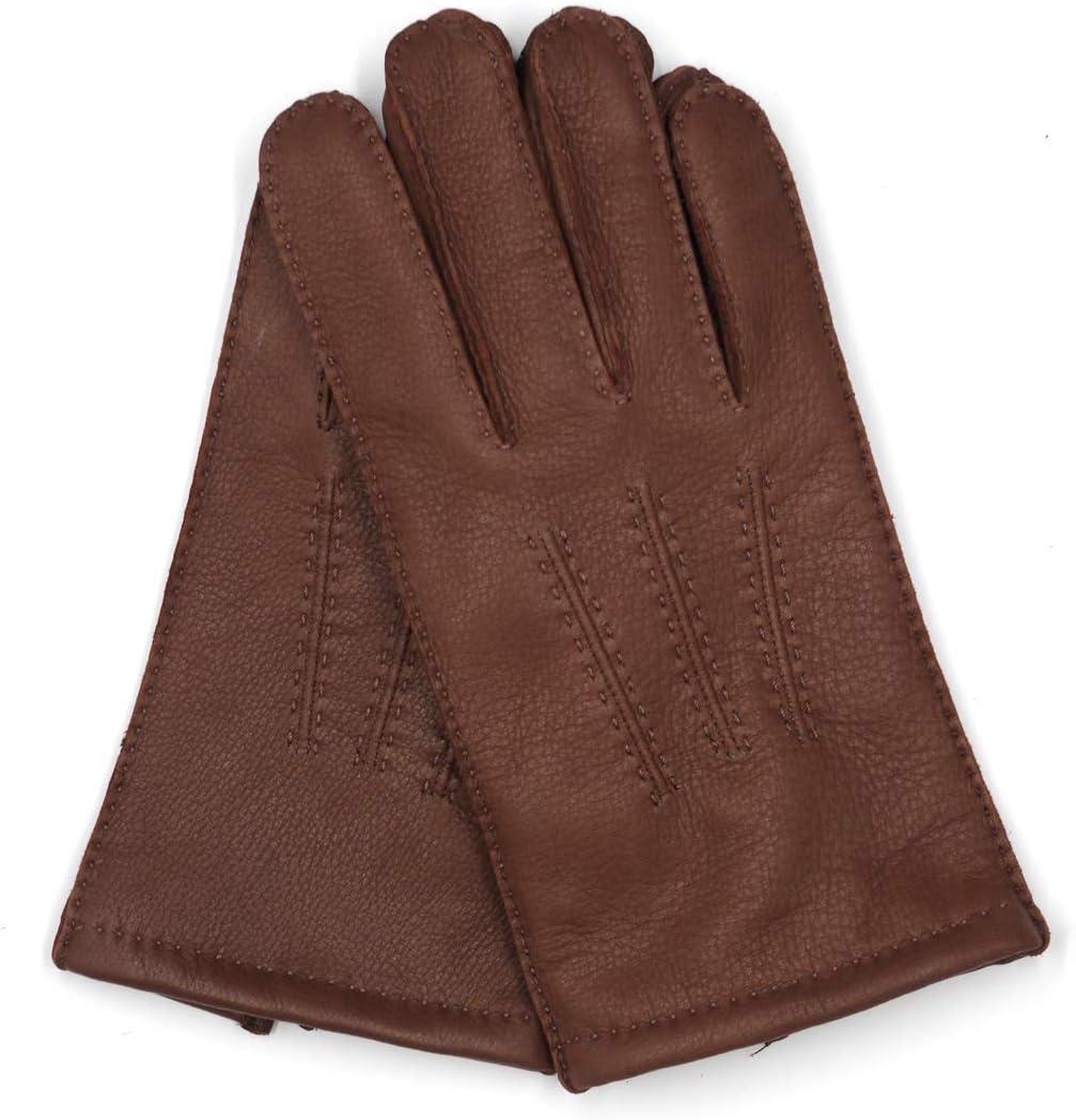 Harssidanzar Mens Deerskin Leather Gloves Cashmere Lined S Black