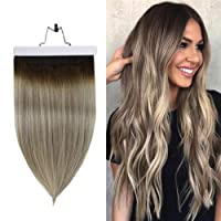 Fshine Invisible Halo Crown Extensions 18 Inch Halo Human Hair Extension Dark Brown...