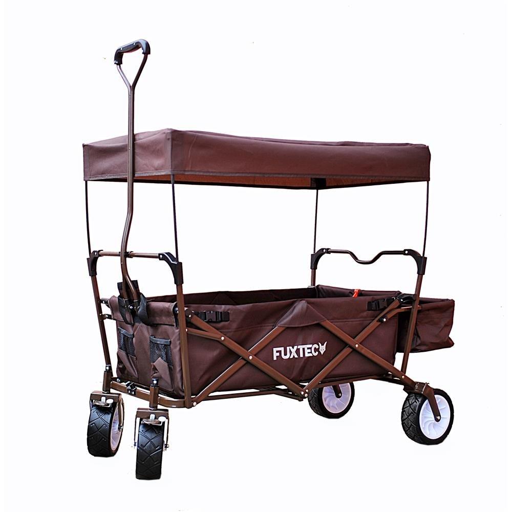 FUXTEC faltbarer Bollerwagen FX-BW100 braun klappbar mit Dach, Vorderrad-Bremse, Strand-Reifen, Hecktasche, für Kinder geeignet - Das Original mit Qualität!