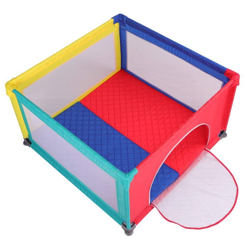 ベビーサークル, クロールマットのある携帯用遊戯場、カラーベイビーフェンス、幼児/幼児のための通気性の網の演劇場   B07PDGDG6W