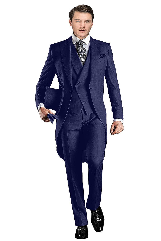 Wemaliyzd Mens Classic Fit 3 Pieces Tuxedo Suit Long Tail Jacket Waistcoat Pants
