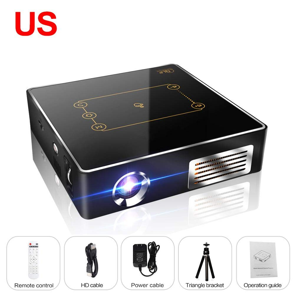 CSQ C9Plus DLP Min Projector 4K Home Theater Projector 2500 Lumens Quad-Core 1.5GHz 2G 16G Dual Wifi 8000mAh Android 7.1 Bluetooth 4.0 2.4G/5G by Oshide (Image #1)
