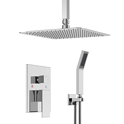 SR SUN RISE 12 Inch Ceiling Mounted Bathroom Luxury Rain Mixer Shower Combo  Set Ceiling Install