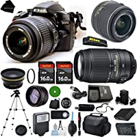D3200 24.2 MP CMOS Digital SLR, NIKKOR 18-55mm f/3.5-5.6 Auto Focus-S DX VR, AF-S NIKKOR 55-300mm f/4.5-5.6G ED VR, 2pcs 16GB BaseDeals Memory, Case, Wide Angle, Telephoto, Battery, Charger