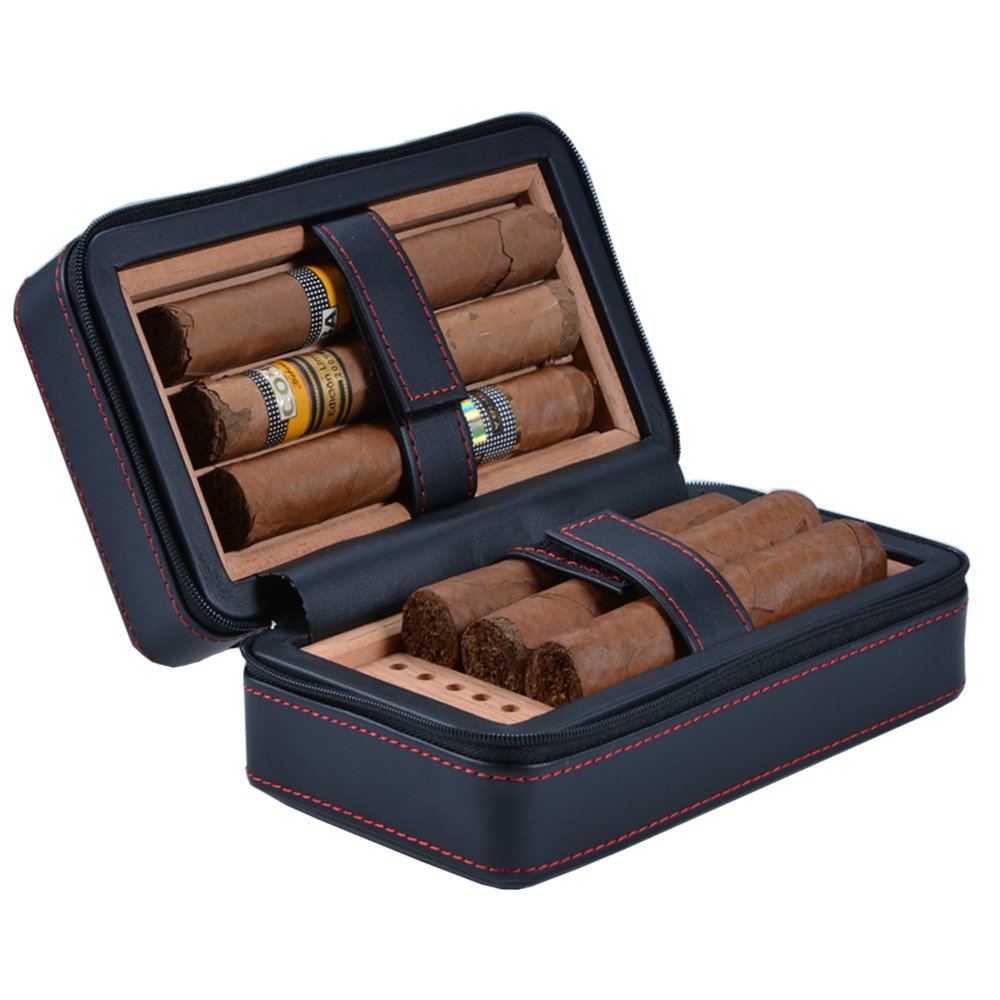 Amazon.com: Volenx Portable Cigar Travel Leather Humidor For 6 Fingers  Holder Cedar Wood Lined Gift Box: Home U0026 Kitchen