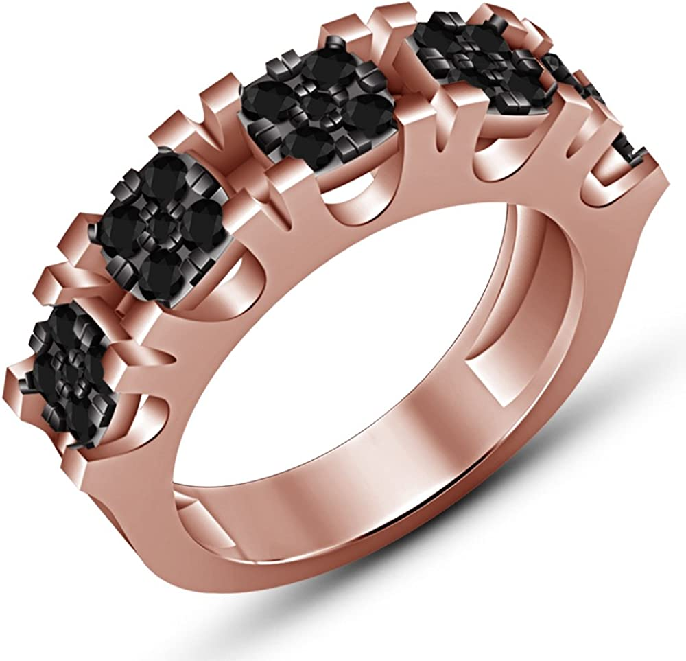 TVS-JEWELS Wedding Band Mens Ring Solid 14k Rose Gold Plated Luxury Round Cut Black Cubic Zirconia