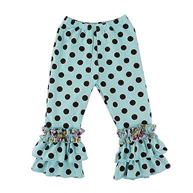 05dc7bd95609d Wennikids Children's Little Girls Ruffle Soft Cotton Flare Pants Small Aqua  Dot