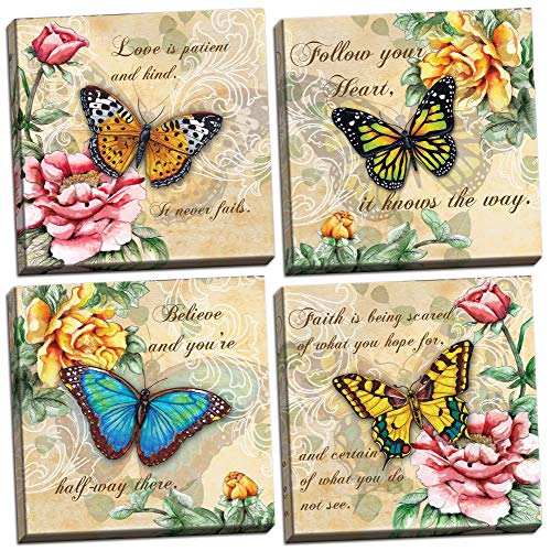 wallsthatspeak 4 Beautiful Butterflies and Flowers Inspirational Quotes Butterfly Art Prints; Four 12x12in Hand-Stretched Canvases, Ready to -